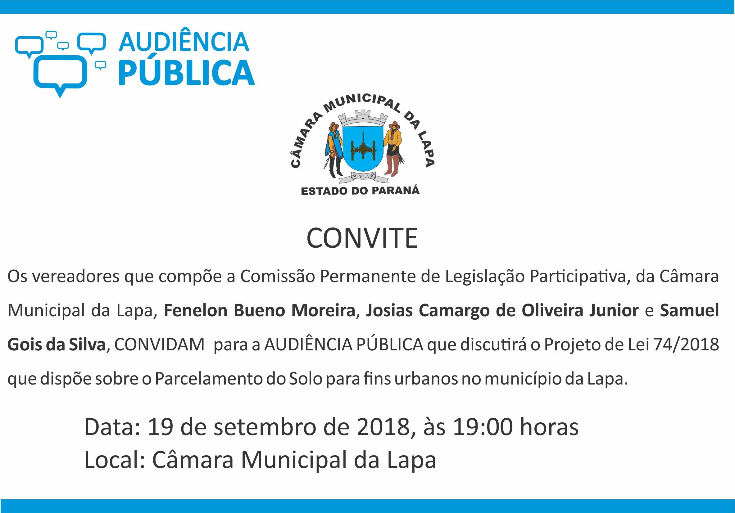 Audiência pública irá discutir Parcelamento do Solo urbano na Lapa