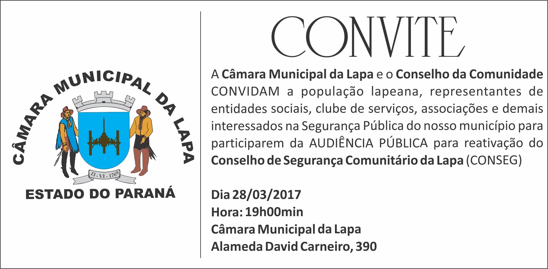 Câmara da Lapa discutirá reativação do Conseg